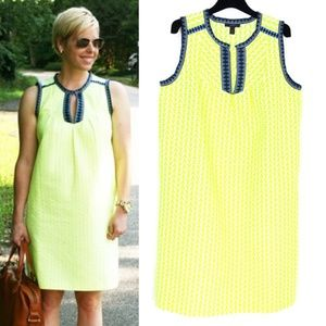 J. CREW Neon Yellow Embroidered Shift Dress
